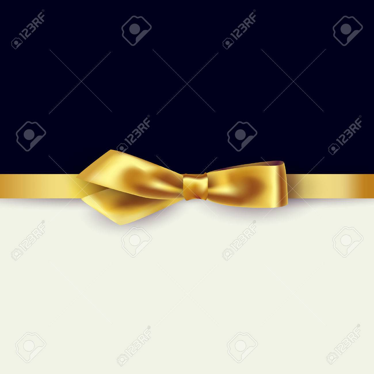 Shiny gold satin ribbon on white and black background. Vector - 54436490