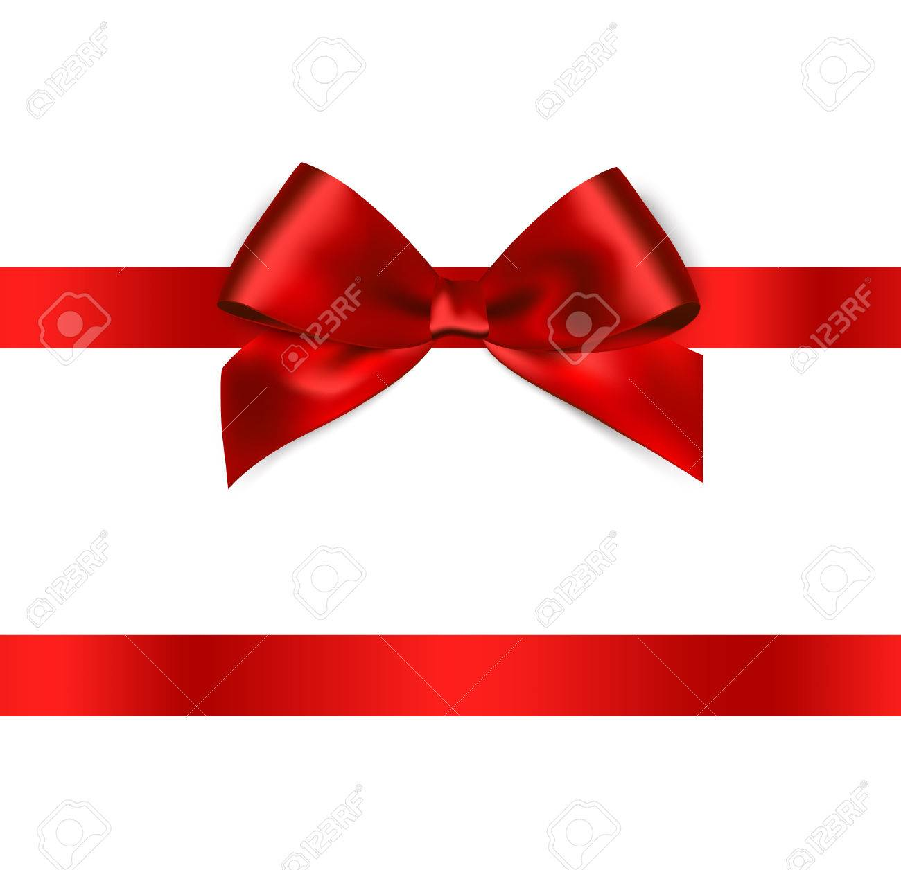 Shiny red satin ribbon on white background. Vector - 54436491