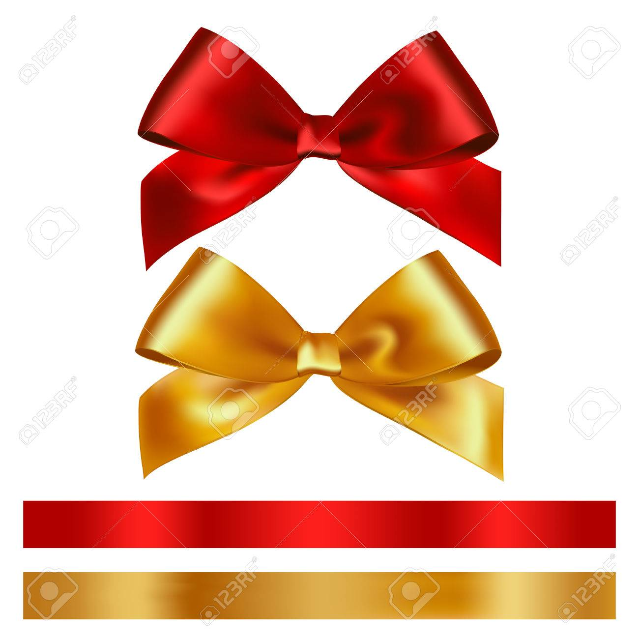 Shiny red and gold satin ribbon on white background. Vector - 54436530