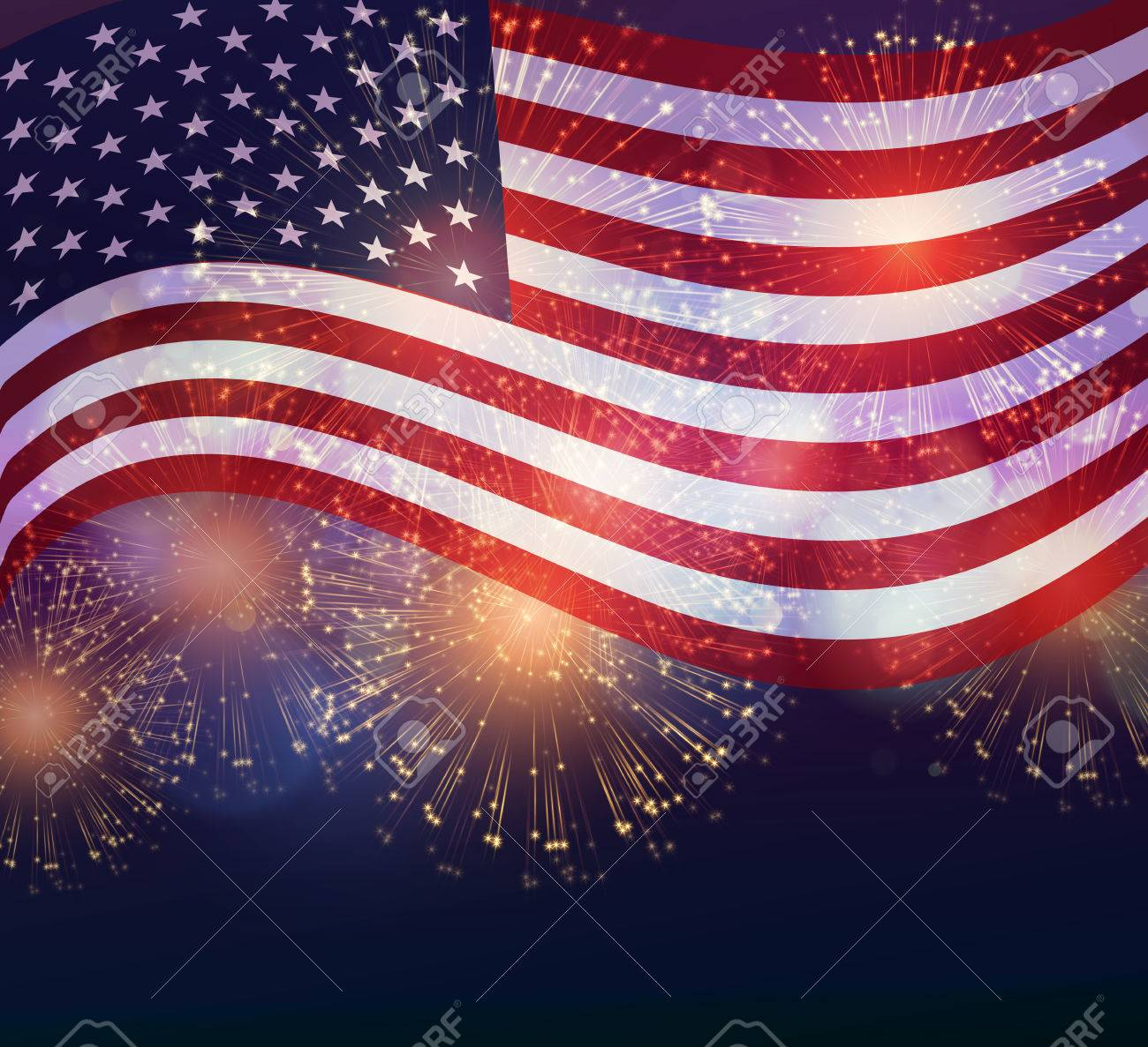 United States flag. Fireworks background for USA Independence Day. Fourth of July celebrate - 54436539
