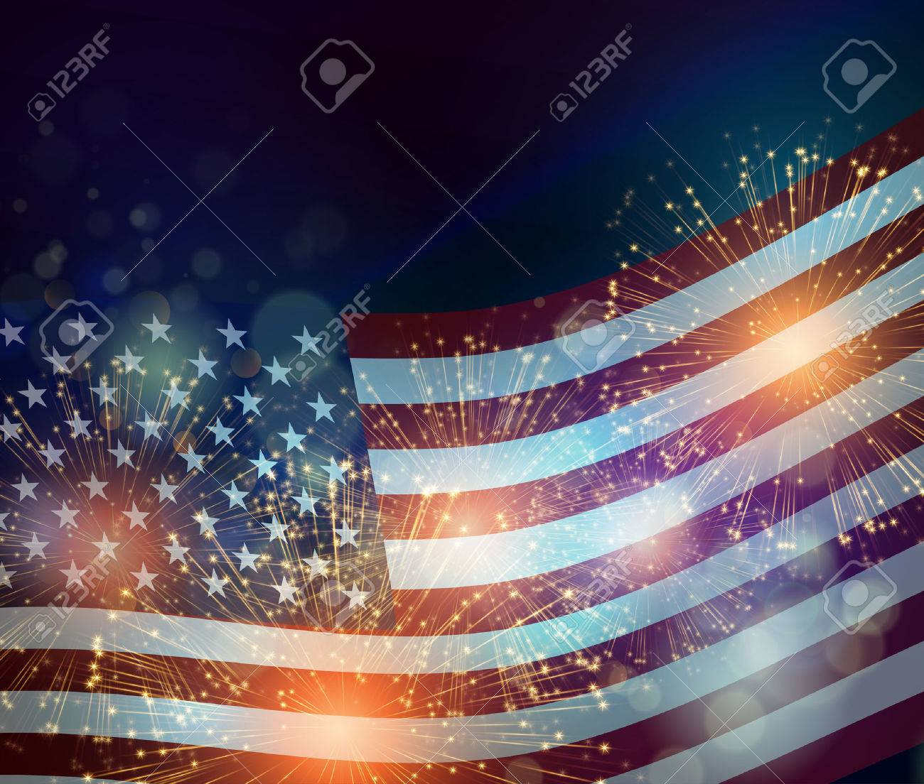 United States flag. Fireworks background for USA Independence Day. Fourth of July celebrate - 54436549