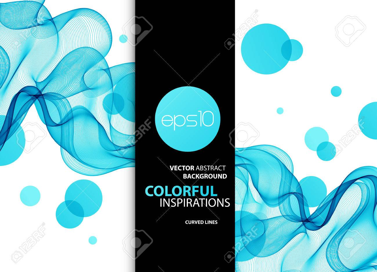 Abstract color wave design element. Blue Curved lines and circle. - 54436203