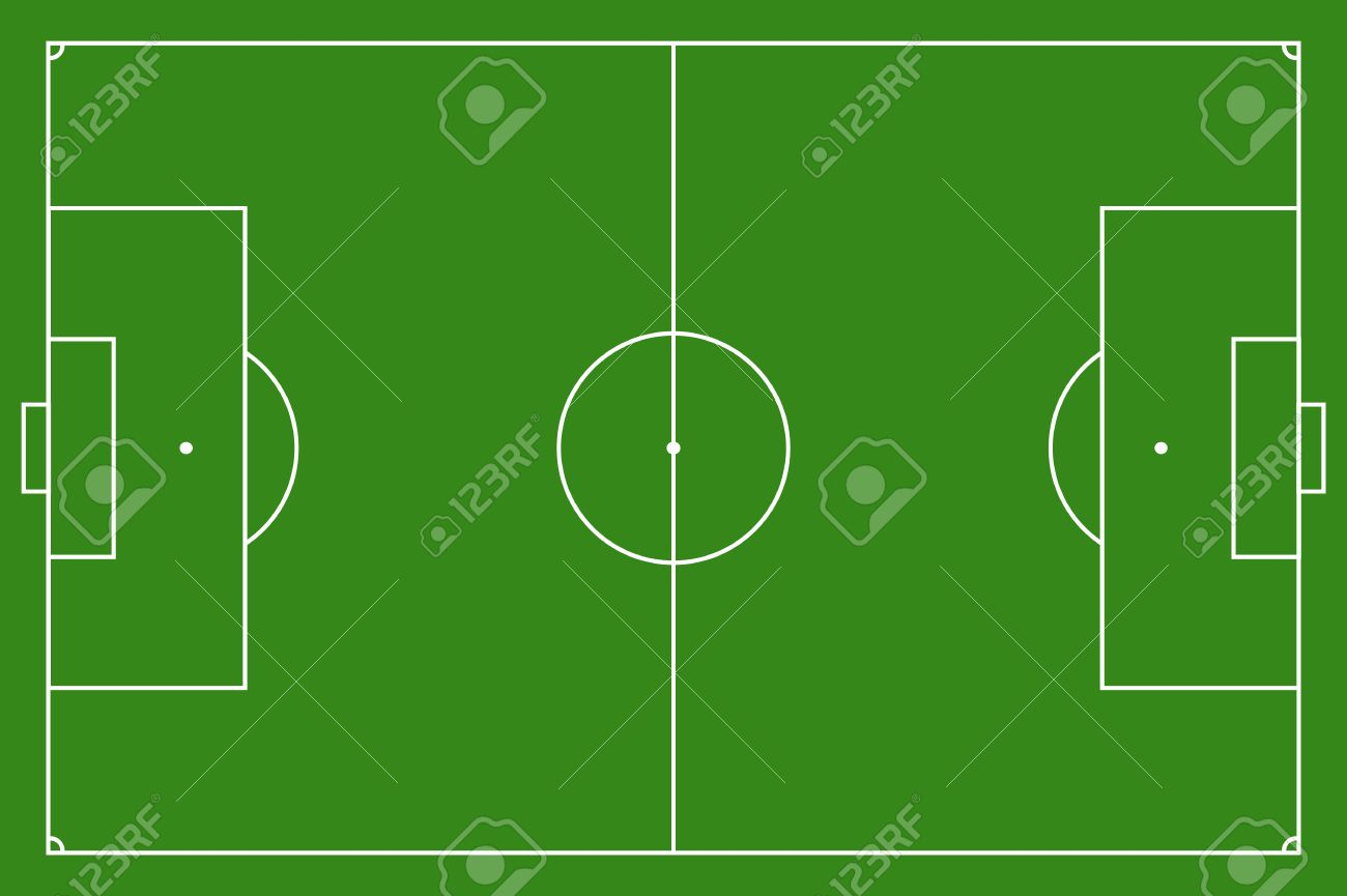 Soccer field, illustration  Football field with lines and areas