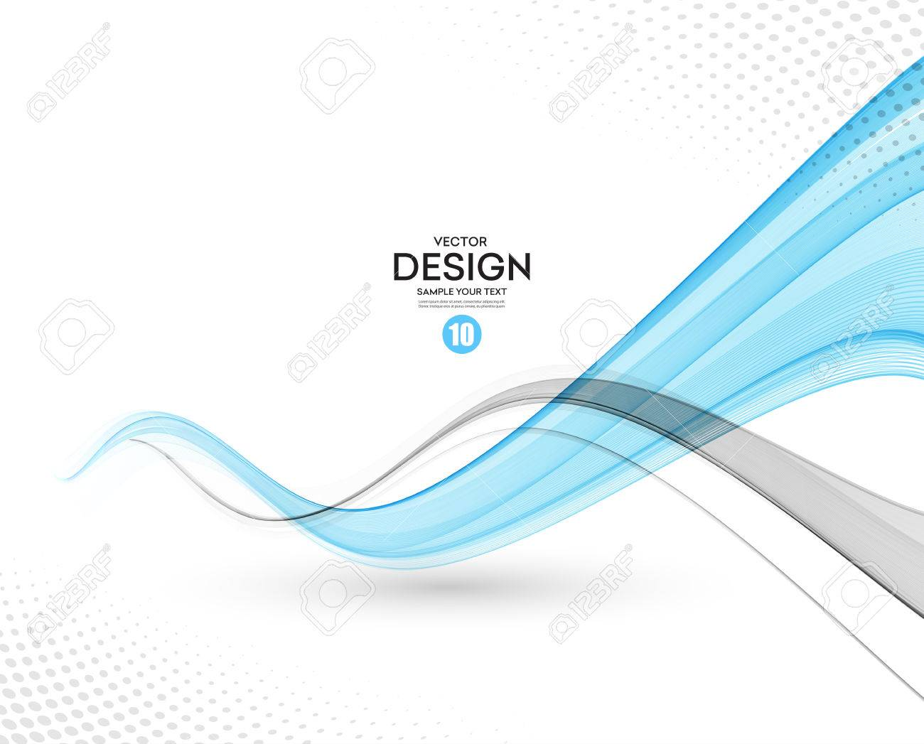 Abstract vector background, gray and blue waved lines for brochure, website, flyer design. illustration - 55560454