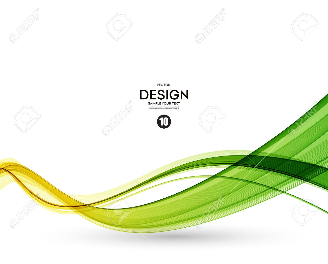 Abstract color wave design element. Yellow and green wave - 56342577