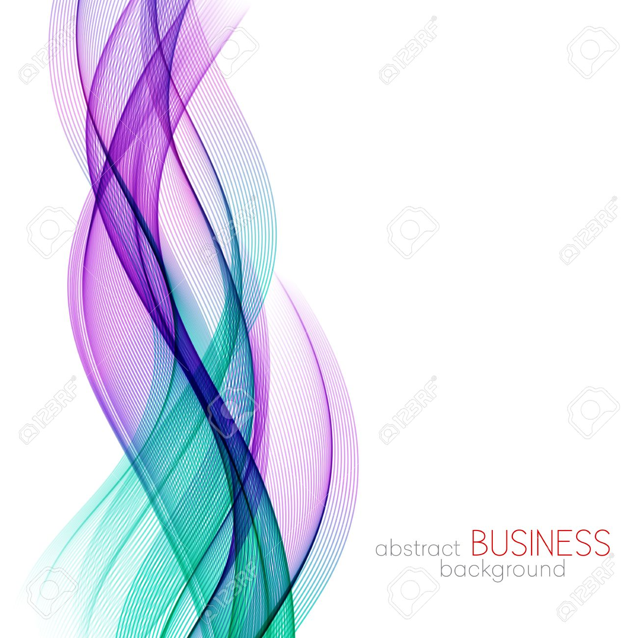 Abstract vector background, blue and purple transparent waved lines for brochure, website, flyer design. Blue smoke wave. Blue and purple wavy background - 56342938