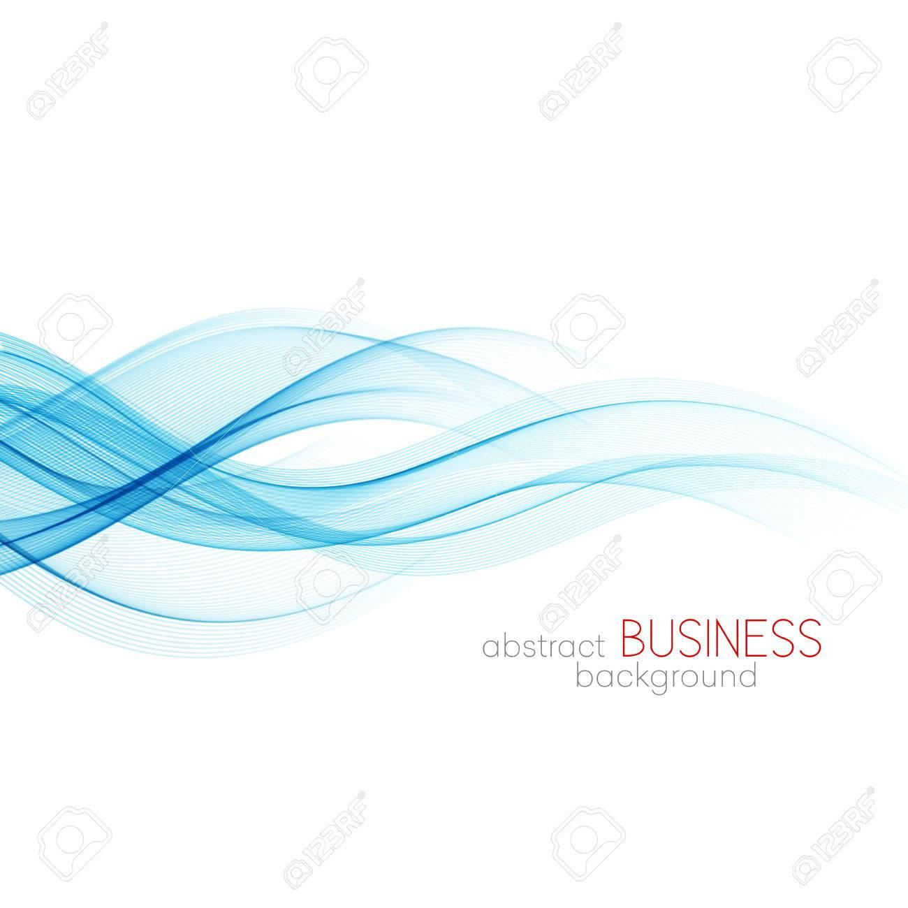 Abstract vector background, blue transparent waved lines for brochure, website, flyer design. Blue smoke wave. Blue wavy background - 56343181