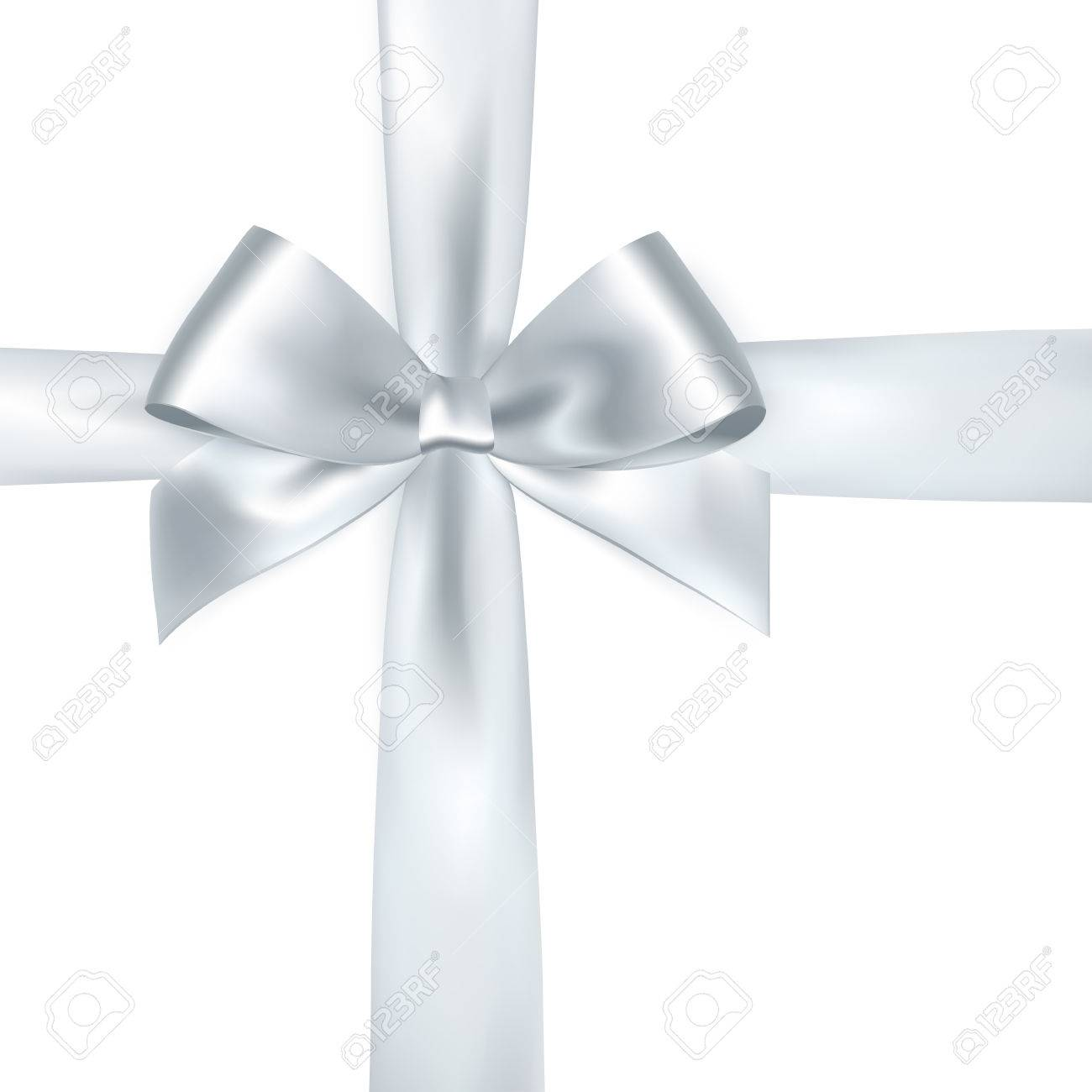 Shiny white satin ribbon on white background. Vector silver bow and ribbon - 56877090