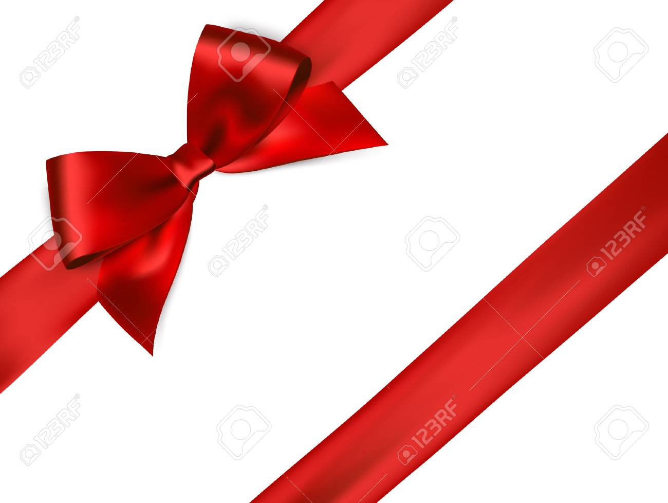 Shiny red satin ribbon on white background. Vector red bow. Red bow and red ribbon - 56877096