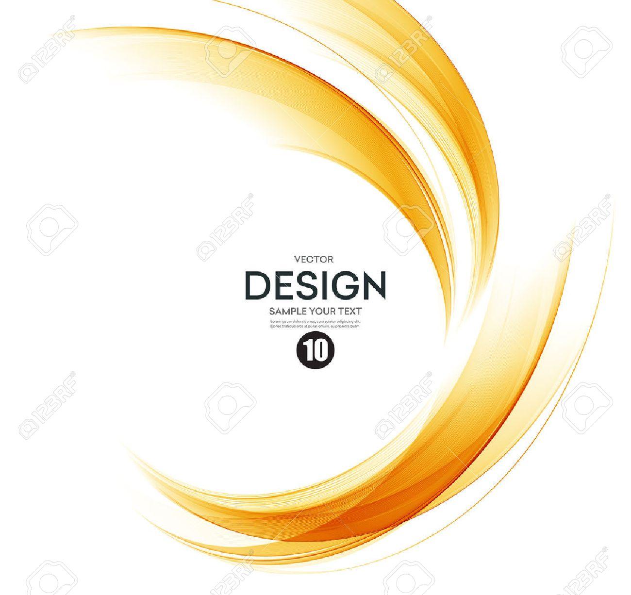 Abstract orange color wave design element. Abstract smooth color wavy vector. Curve flow orange motion illustration. Orange smoke wave lines. Orange wave - 56877102