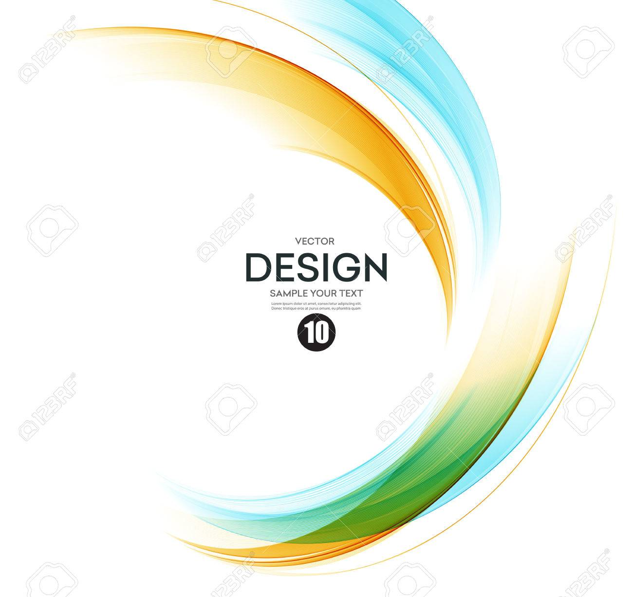 Abstract color wave design element. Orange and blue wave - 56909596