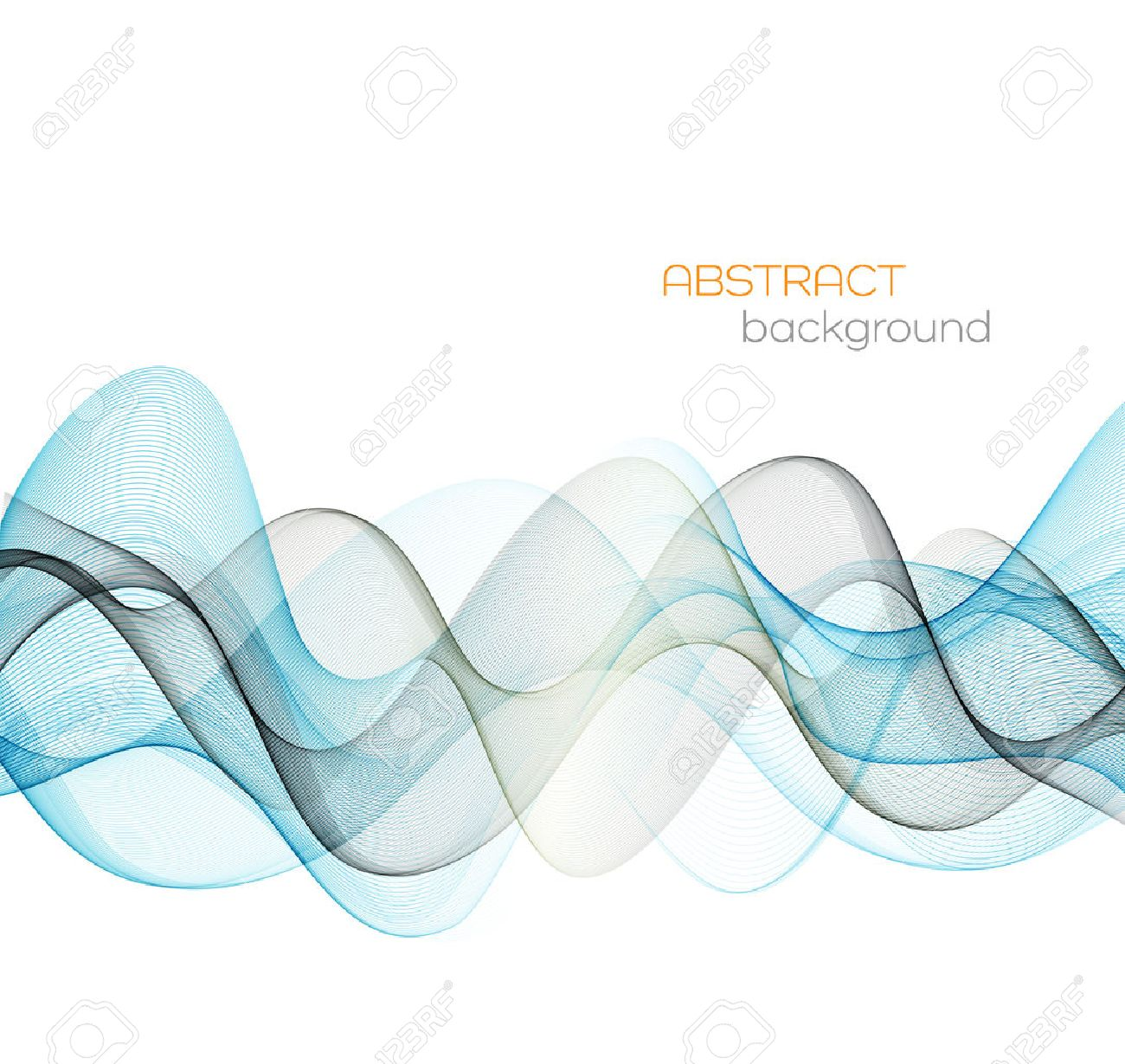 Abstract vector background, blue transparent waved lines for brochure, website, flyer design. Blue and gray smoke wave. Blue wavy background - 56986245