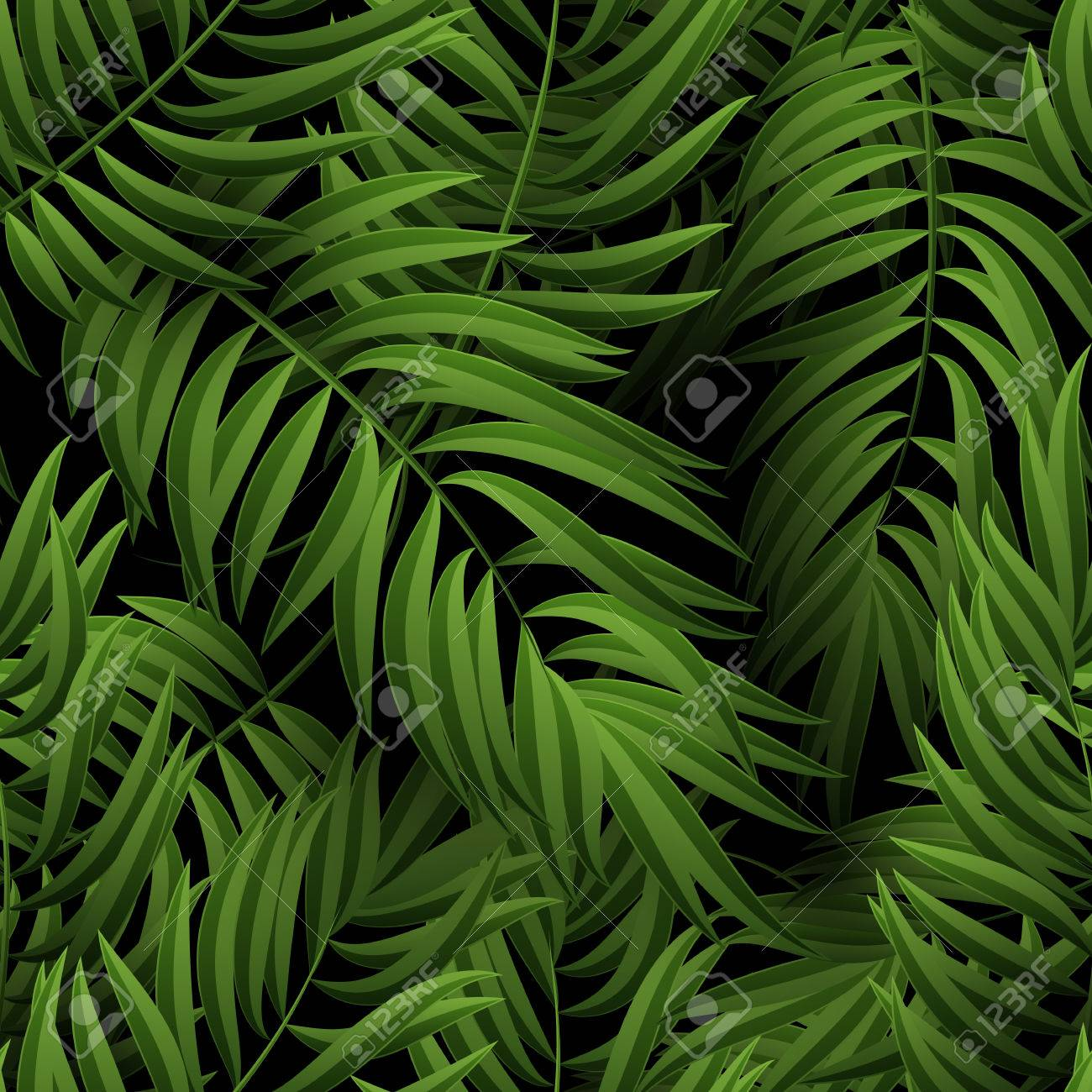 Seamless tropical jungle floral pattern with palm fronds. illustration. Green Palm leaves pattern on black background - 57247725