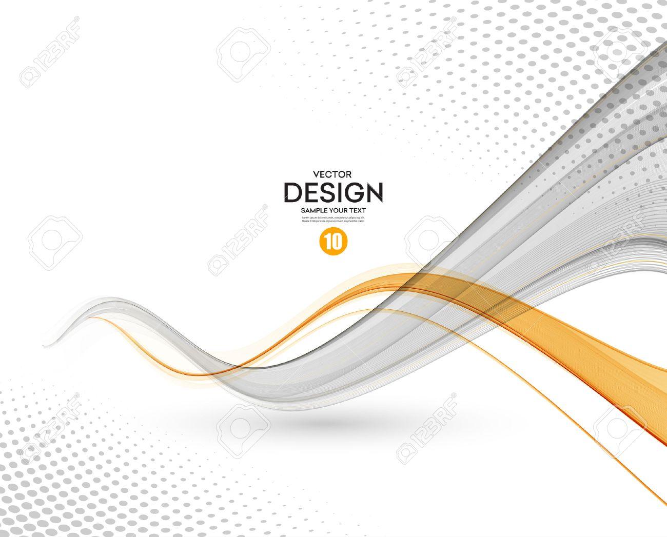 Abstract background, gray and orange waved lines for brochure, website, flyer design. illustration - 57247966