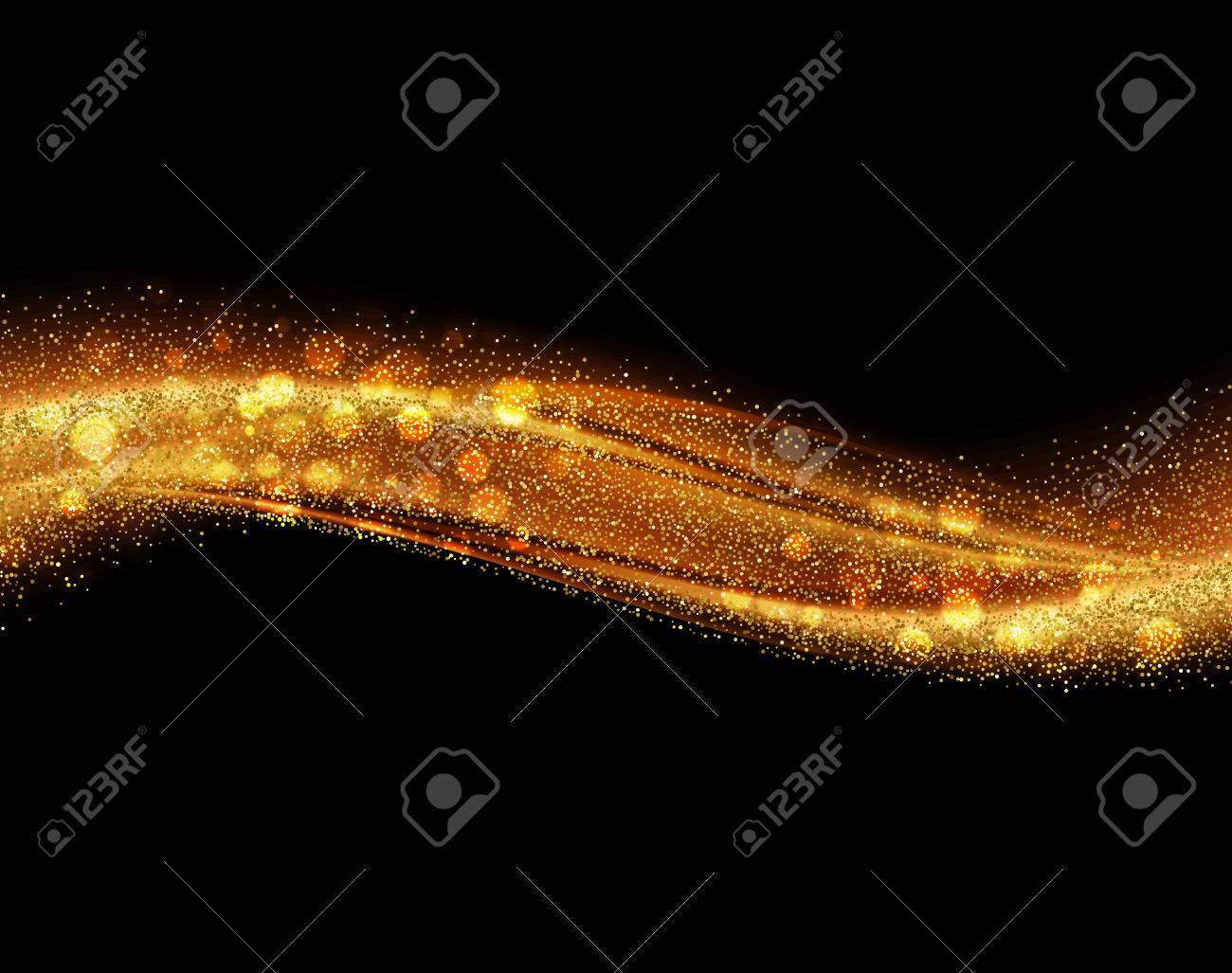 Vector Abstract shiny color gold wave design element with glitter effect on dark background. - 78444503