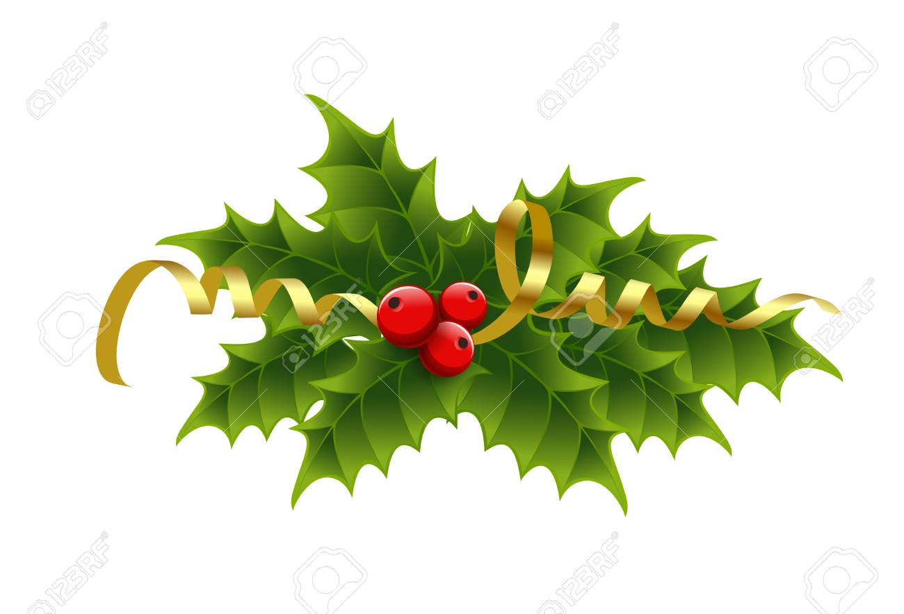 Christmas Tinsel Transparent.Vector Christmas Holly Berries And Tinsel No Transparent Effect
