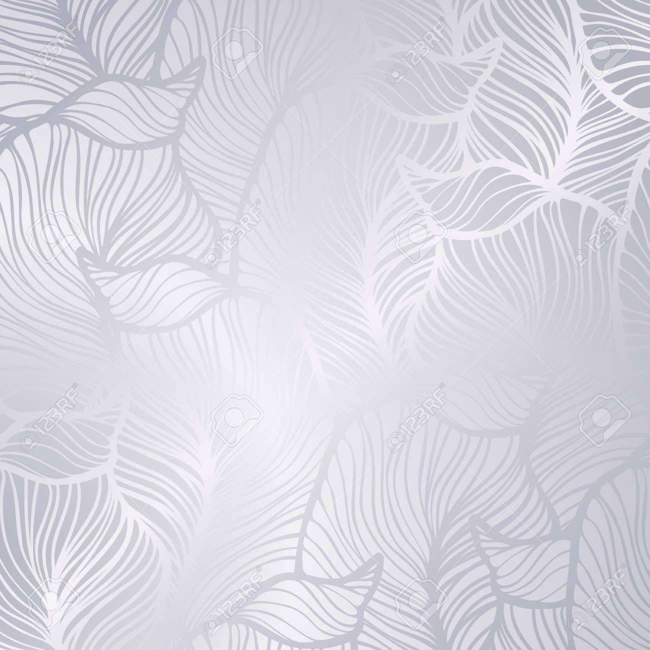 Vector vintage silver card with seamless damask pattern EPS 10 - 128441511
