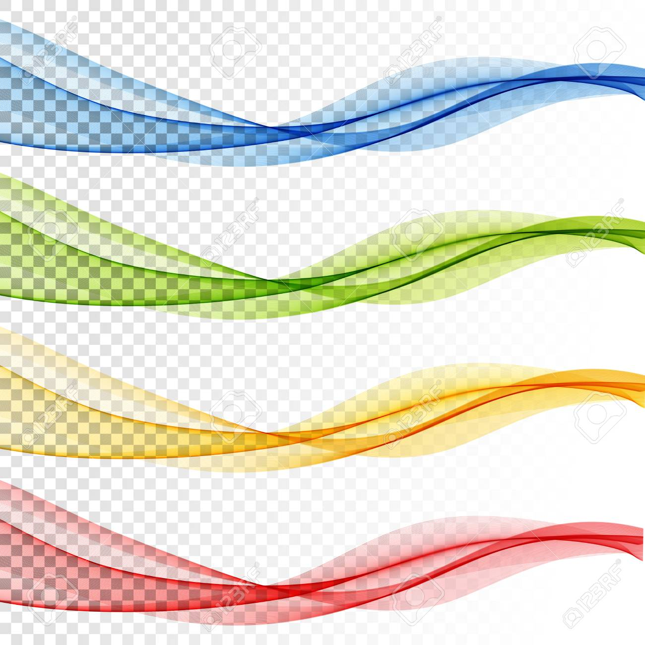 Set of Abstract vector wave, color flow waved lines for brochure, website, flyer design. Transparent smooth wave - 128441534