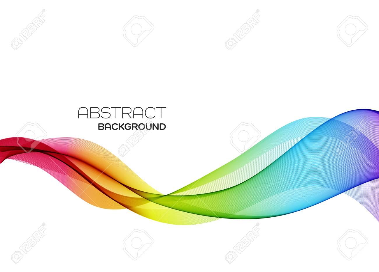 Abstract vector background, color flow waved lines for brochure, website, flyer design. Transparent smooth wave - 128441539