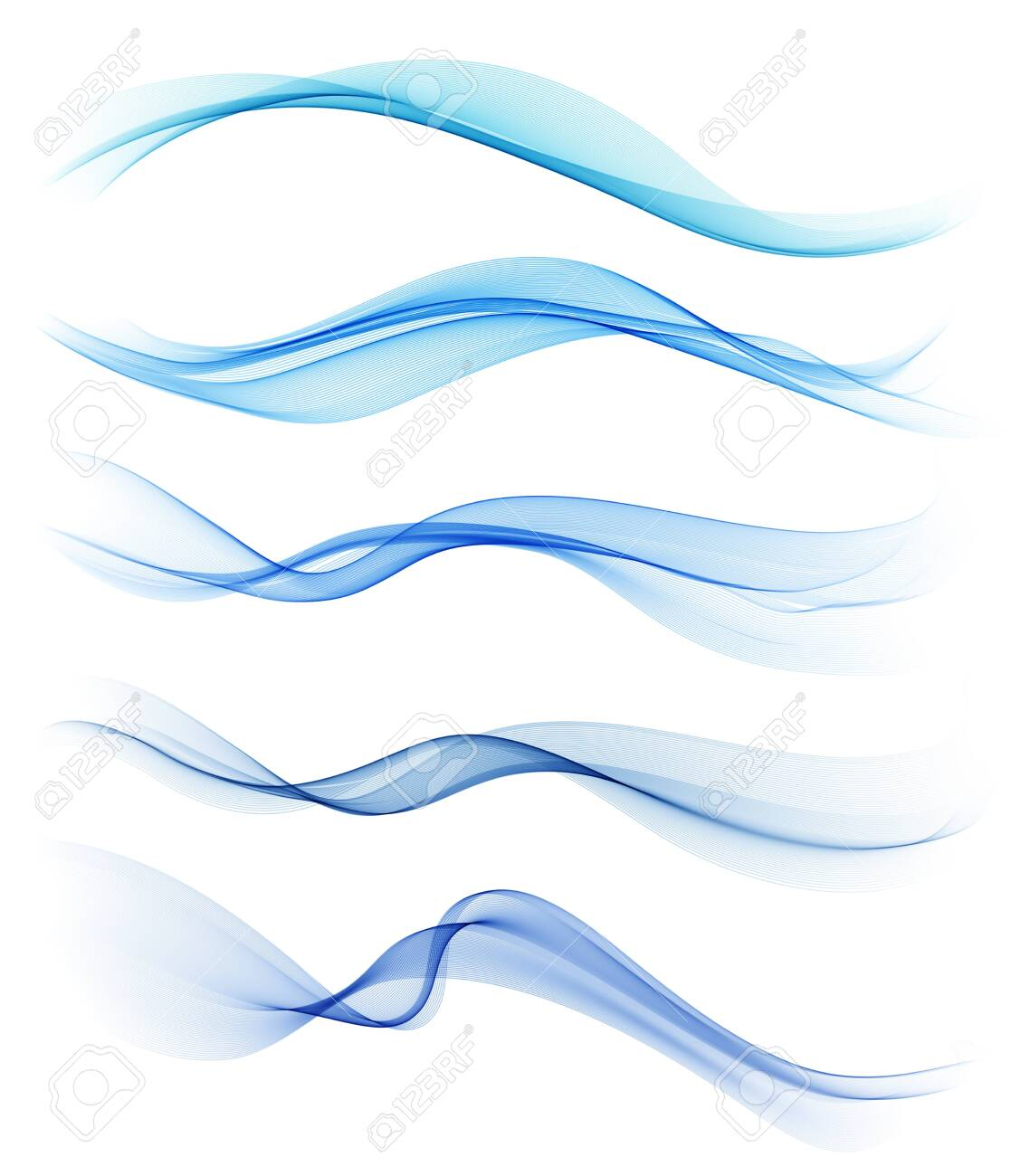 Set of blue abstract wave design element - 131089272