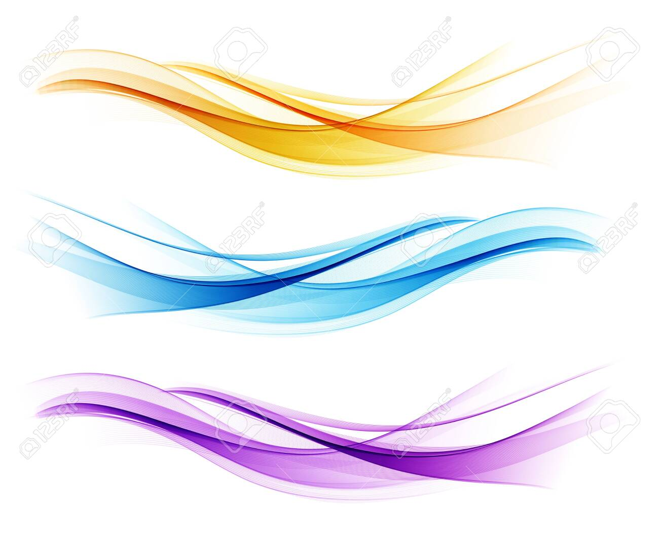 Set of color abstract wave design element - 148965844