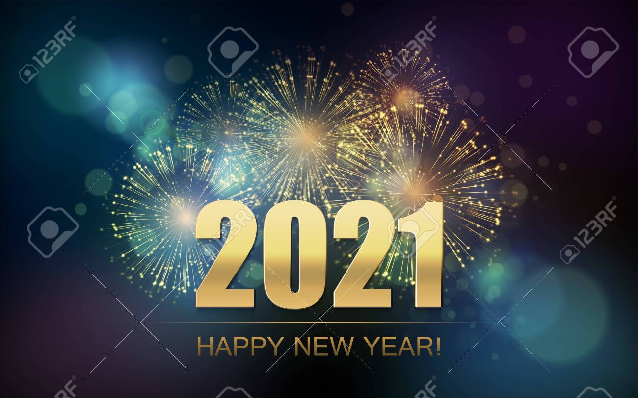 2021 New Year Abstract background with fireworks - 149989994