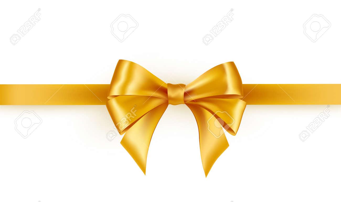 Shiny gold satin ribbon on white background - 168395066