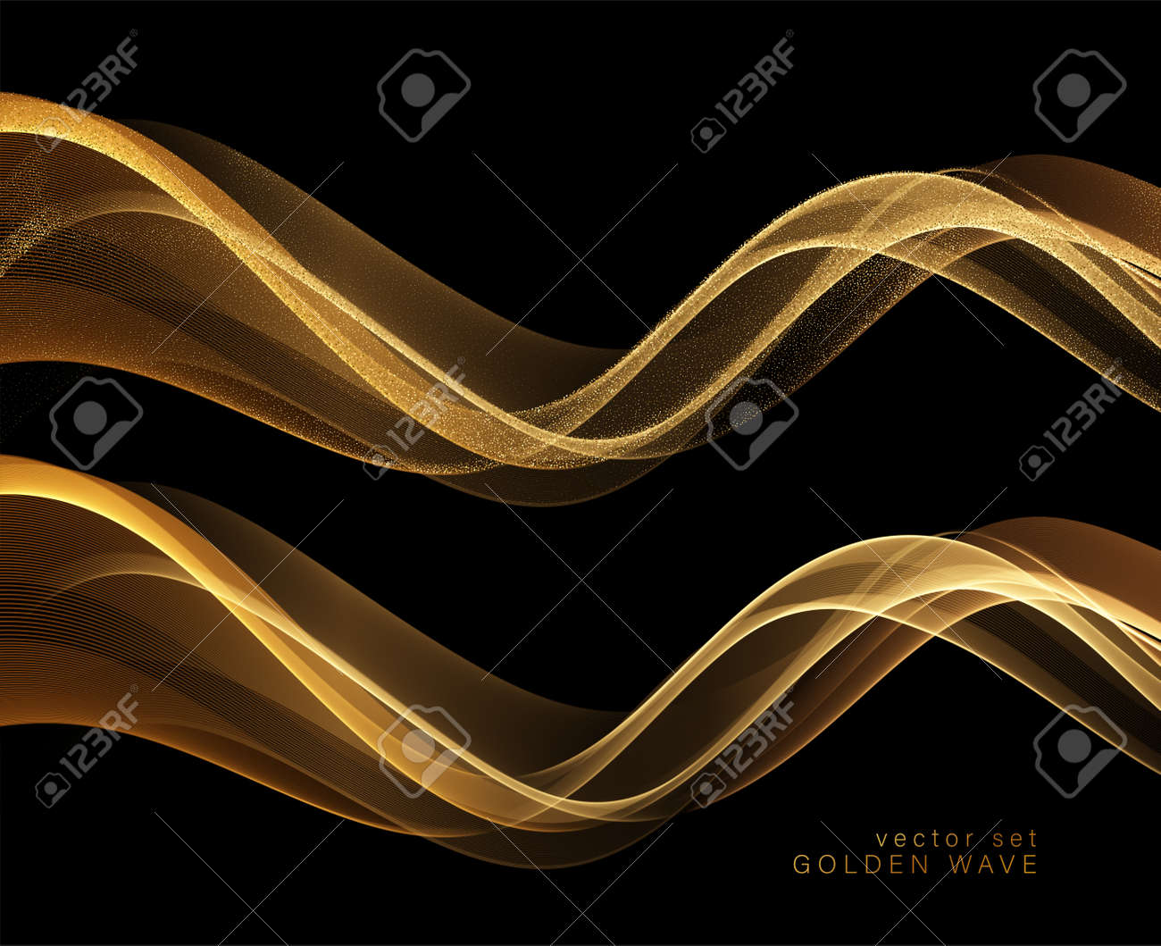 Abstract shiny color gold wave design element - 168453763