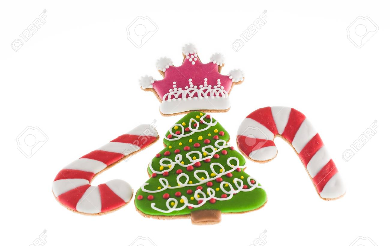 Christmas Cookies Xmas Tree, Two Canes And Pink Crown Over White ...