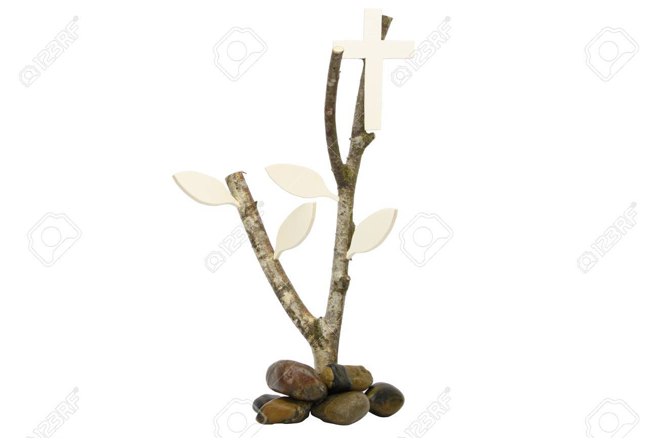 Birch Branch With Wooden Cross And Pebbles Isolated As A Christian