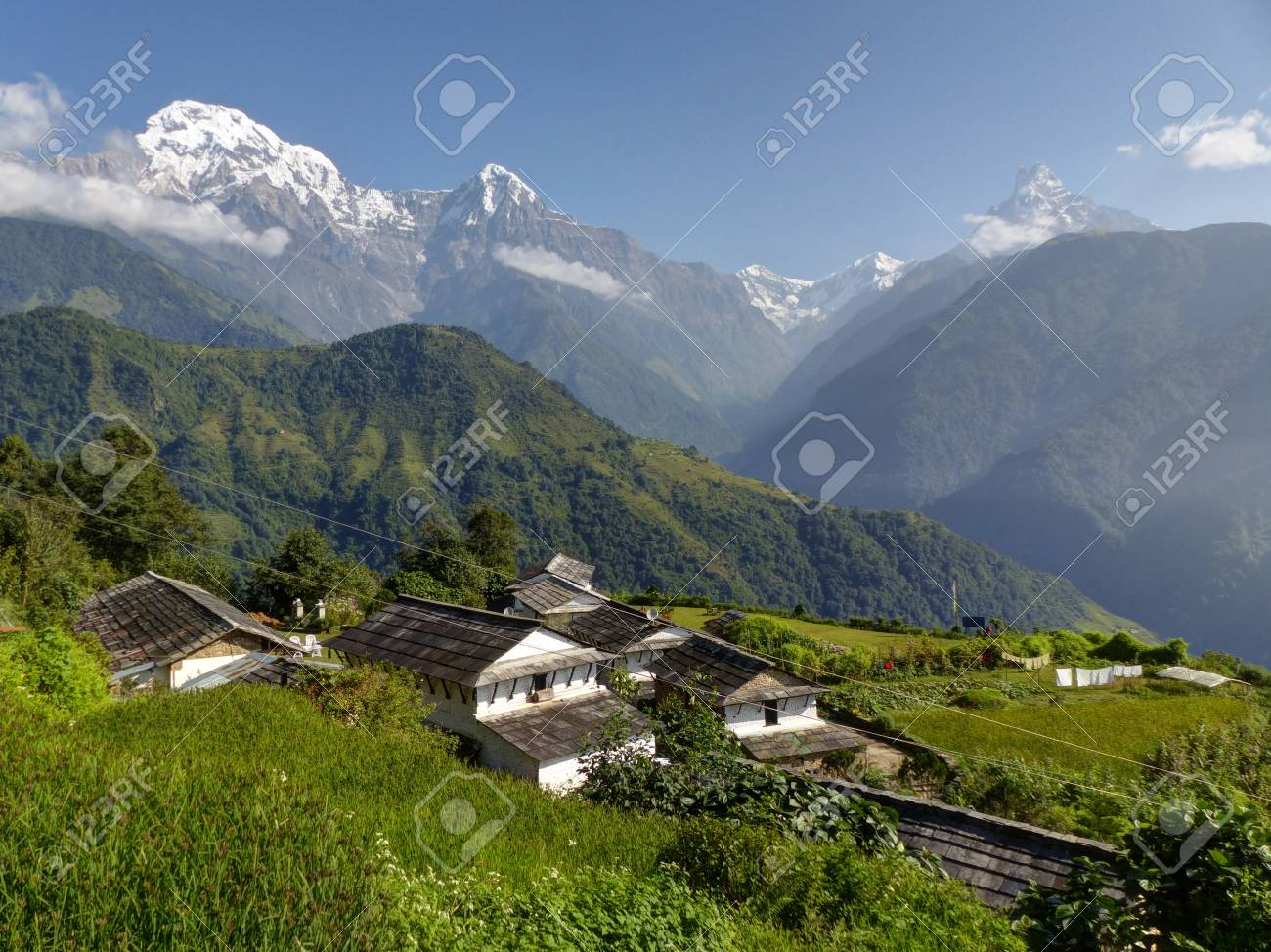 Snow Capped Himalaya Annapurna Range From Beautiful Village Stock