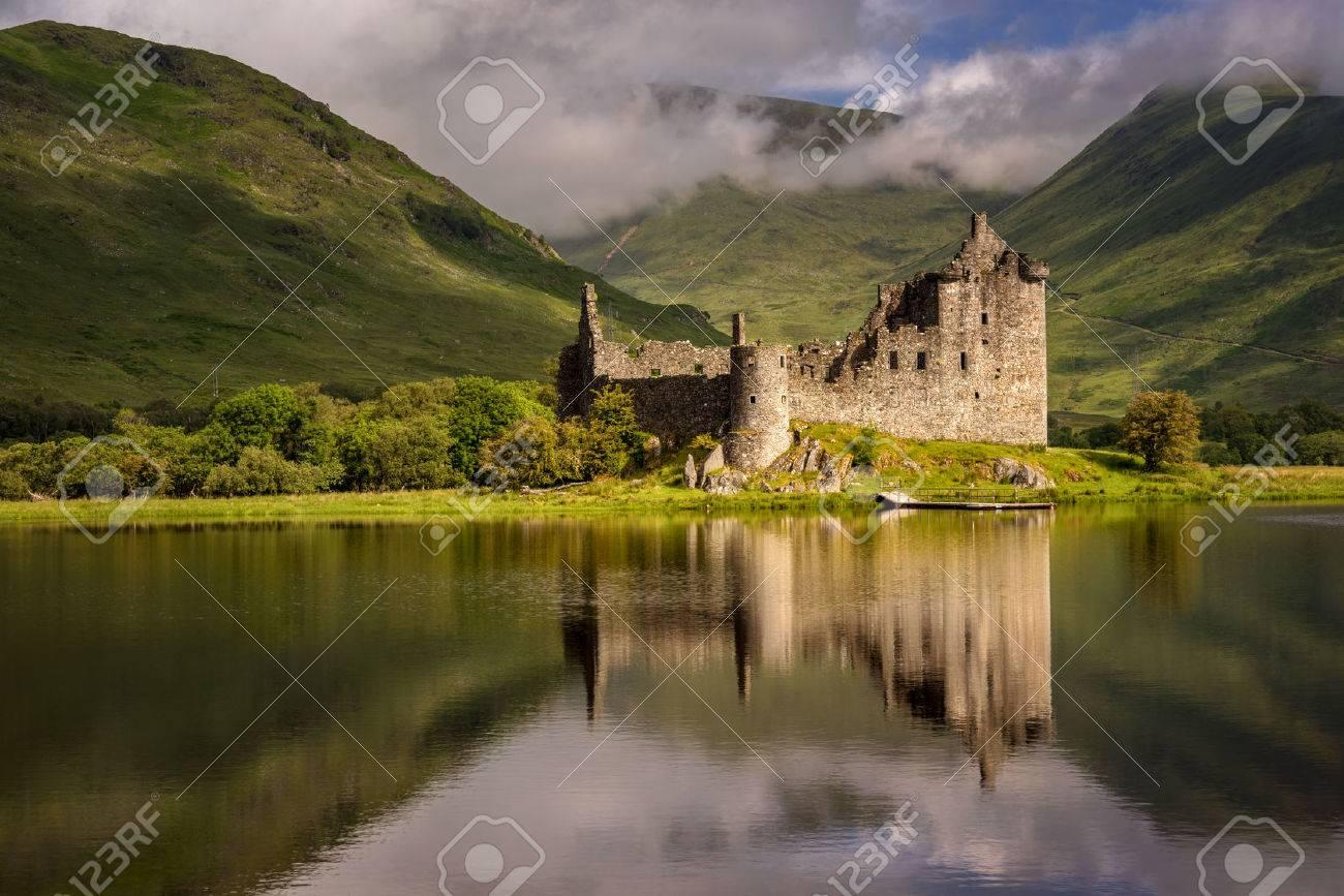 Reflection of Kilchurn Castle in Loch Awe, Highlands, Scotland - 70087616