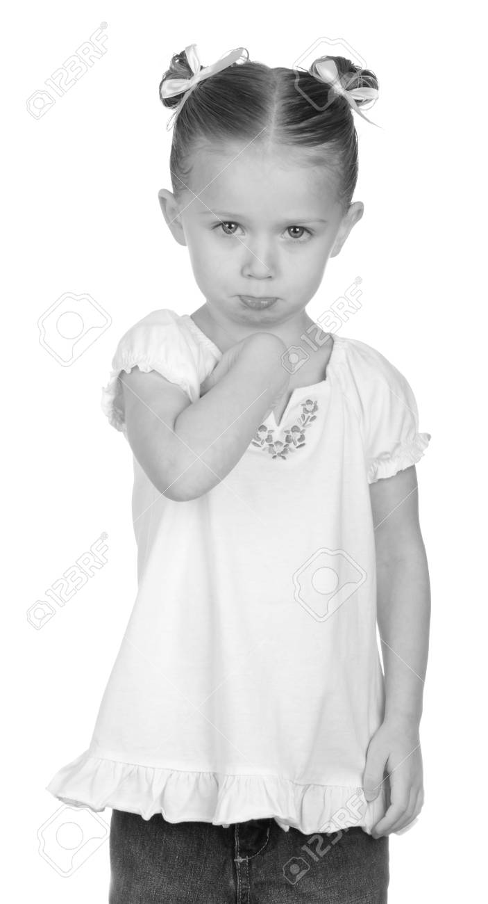 A nice black and white photograph of a child pouting. Stock Photo - 9373718