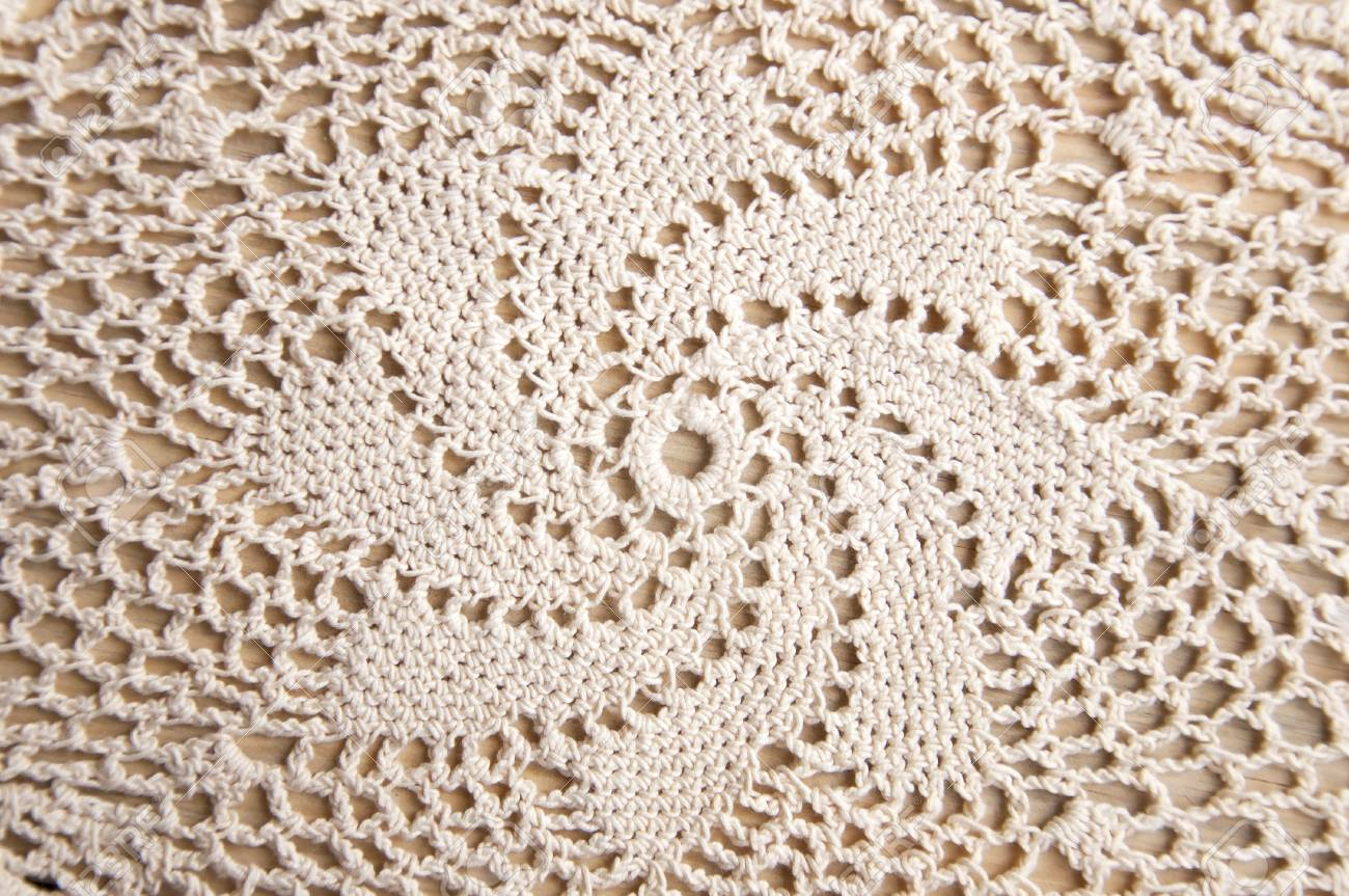 Knitted Homemade White Lace Doily With A Star Pattern. Stock Photo ...