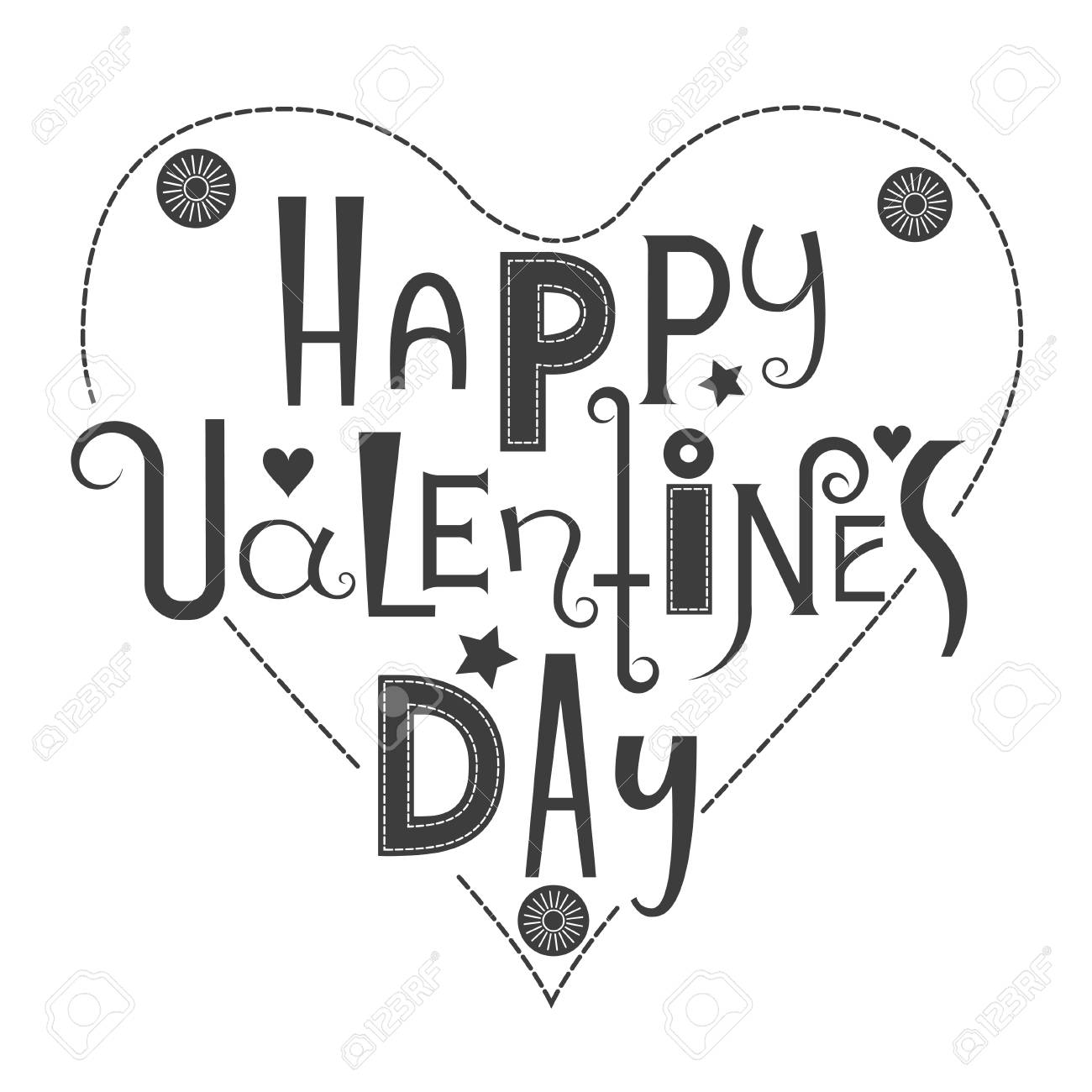 Vector Lettering Happy ValentineS Day Black Letters Of Different