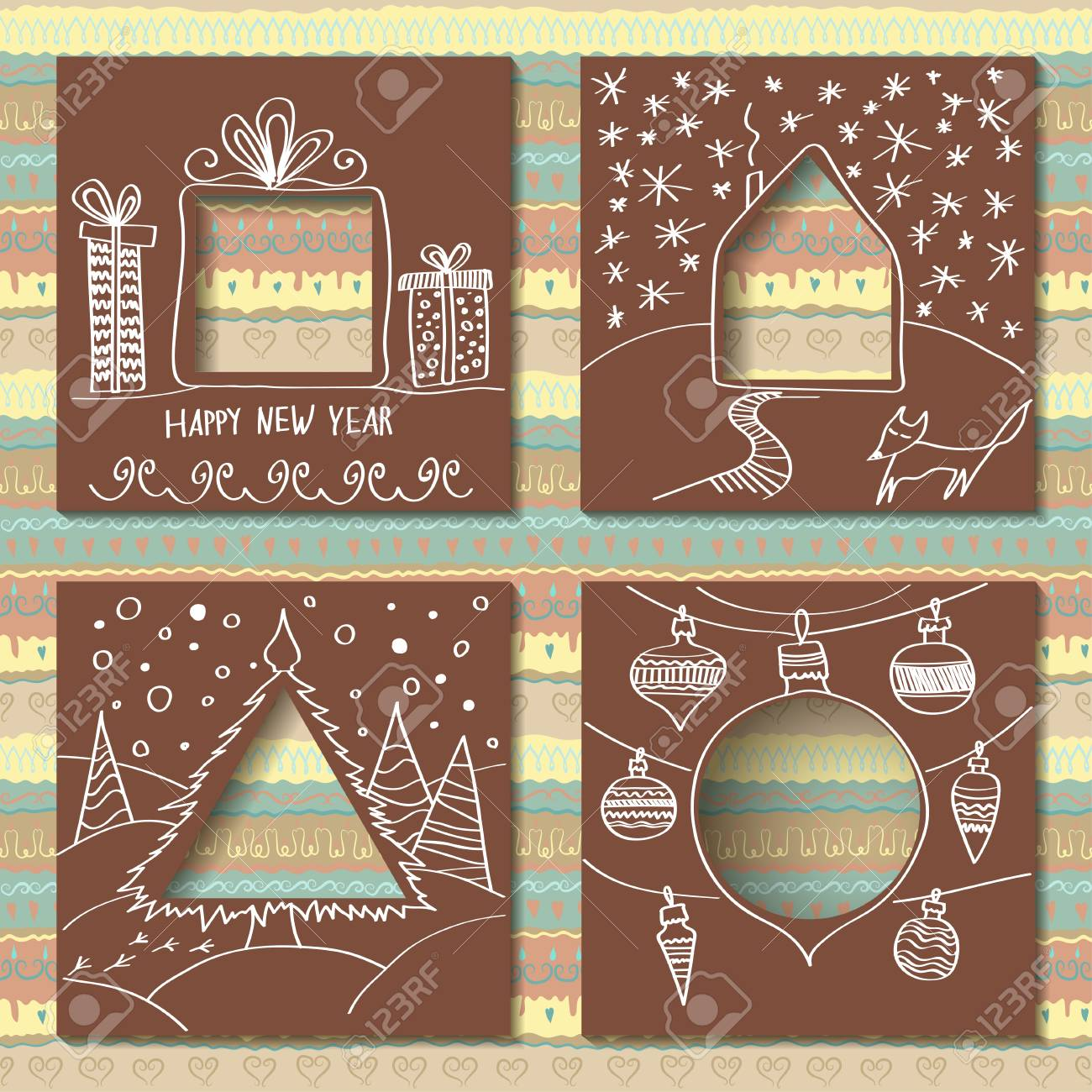 Vector Set Of Four Templates For Paper Christmas Cards Cardboard