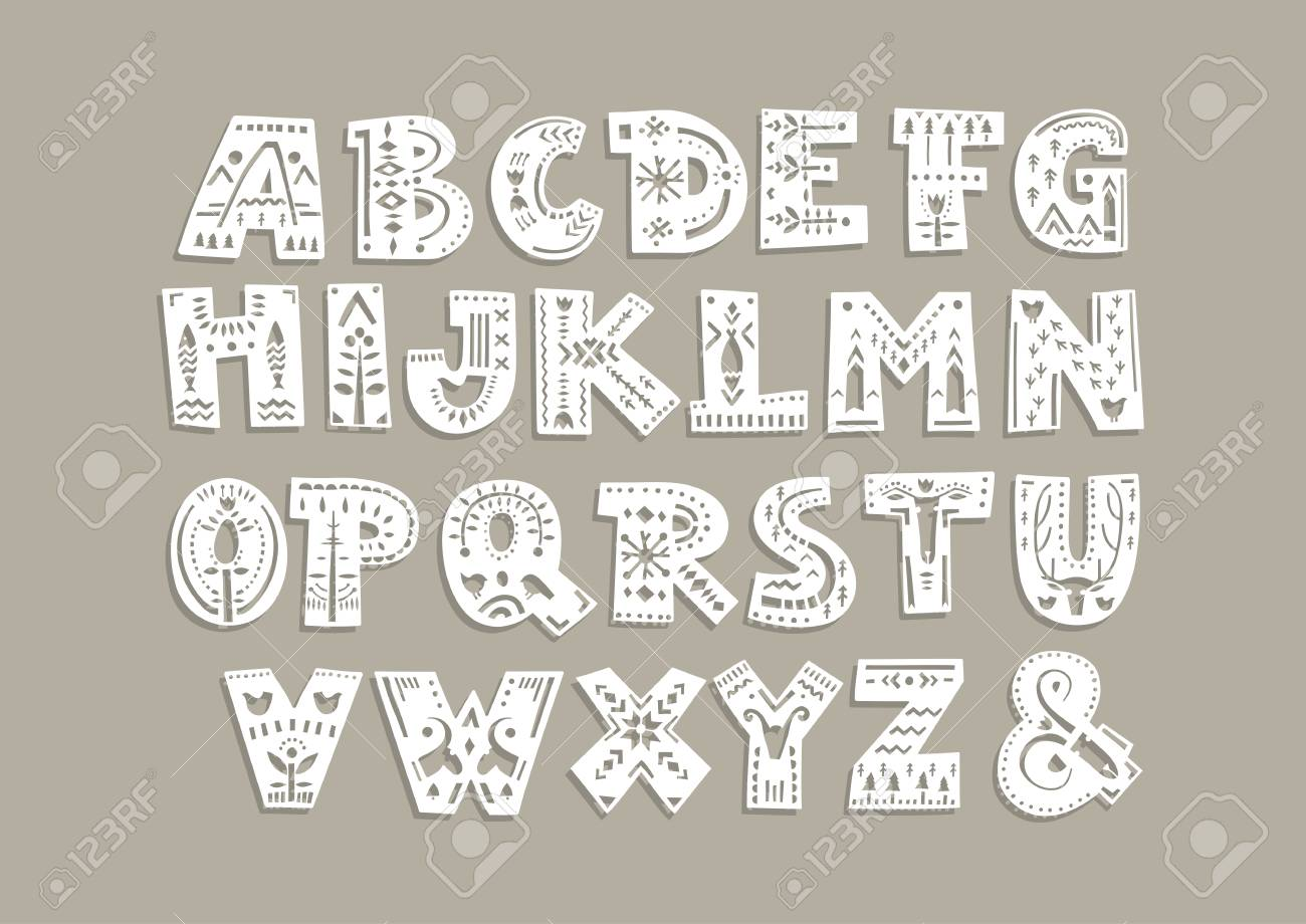 photograph regarding Letter Cut Out Template identify Vector funds alphabet. Lower out letters with scandinavian styles..