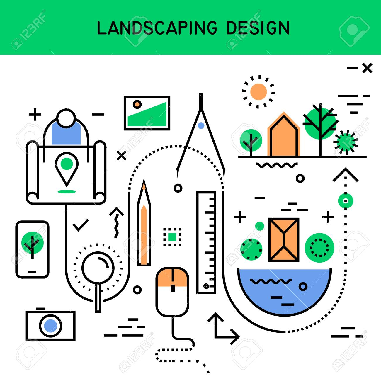 Vector Flat Line Abstract Process Illustration Of Landscaping