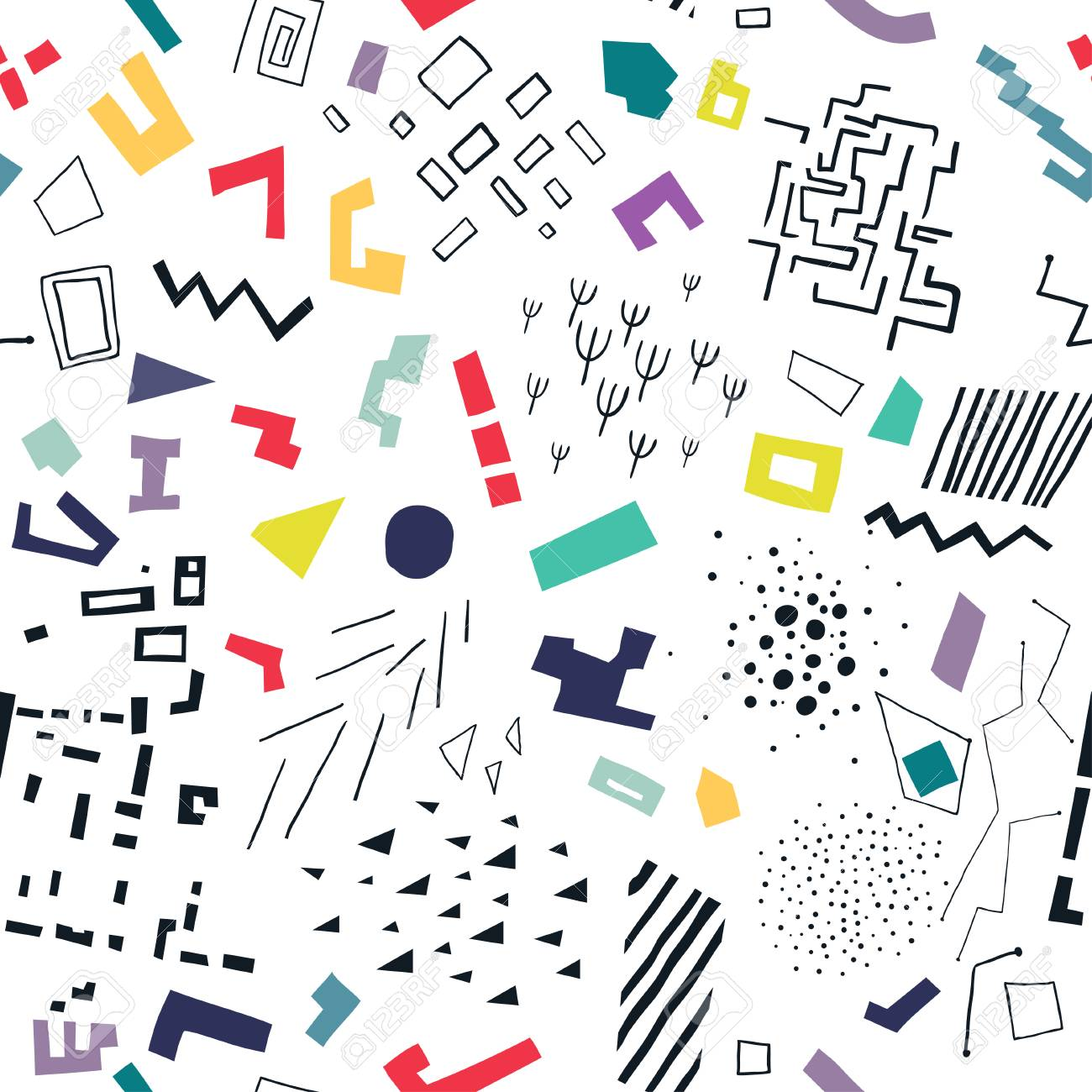 Vector seamless pattern made of colorful flat shapes and black structures. - 118044206