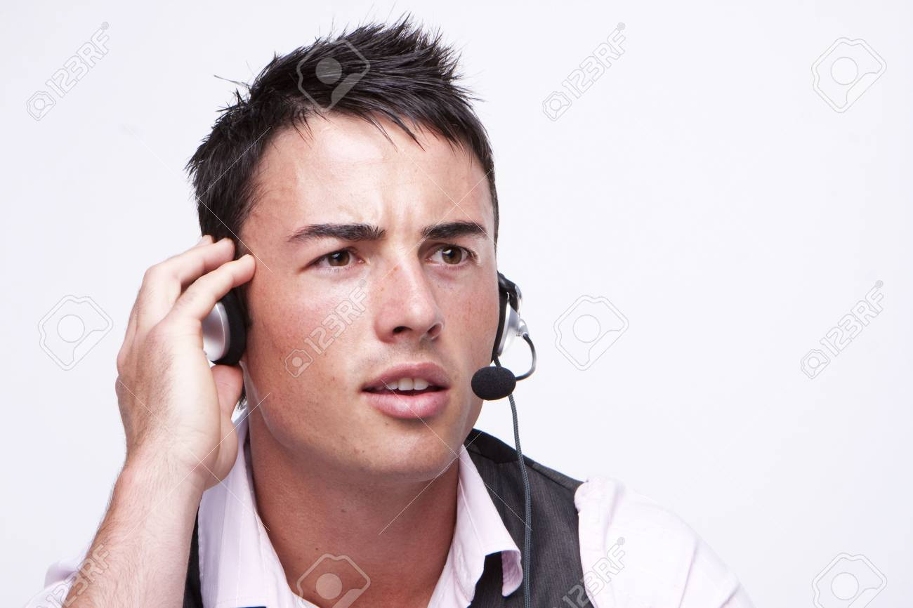 customer service representative man busy talking  isolated over a white background Stock Photo - 5011441