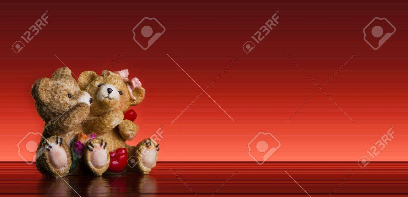 Valentine Concept -teddy bear couple onr ed background - postcard - 6237831