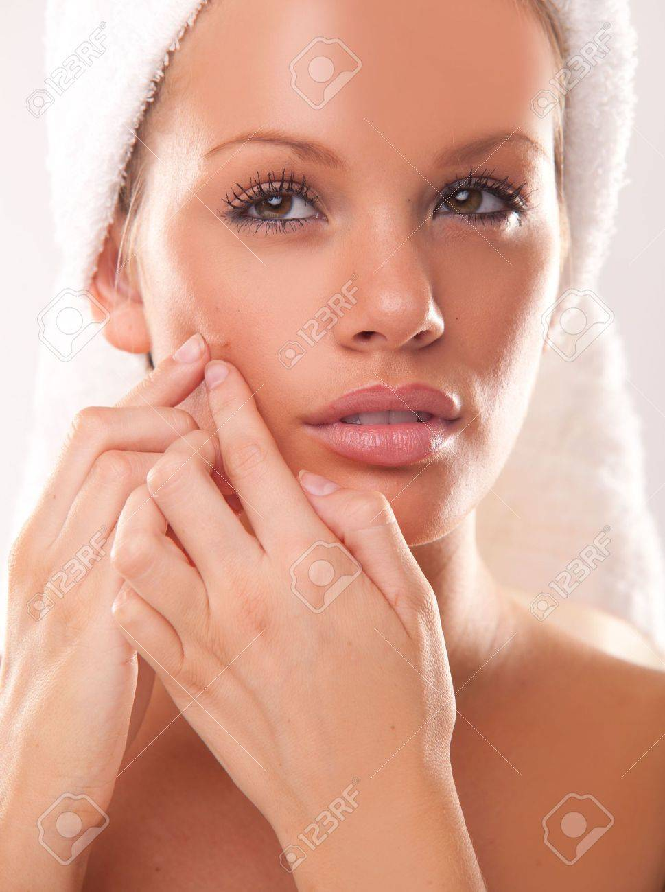 Pimple , spot on beauty woman face Stock Photo - 8015433