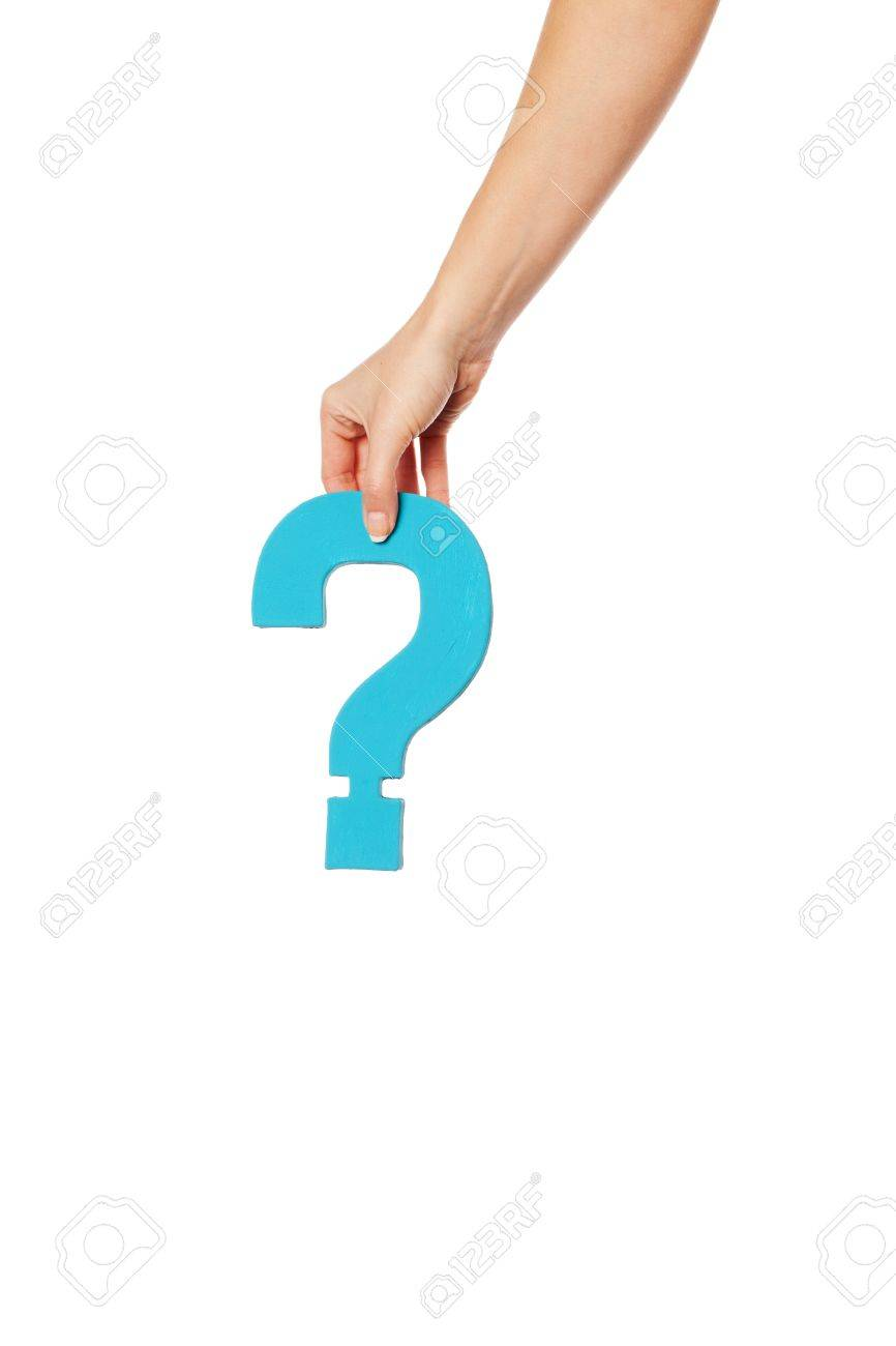Female hand holding up a turqise question mark against a white background conceptual of questions, query, why or what. Stock Photo - 16147385