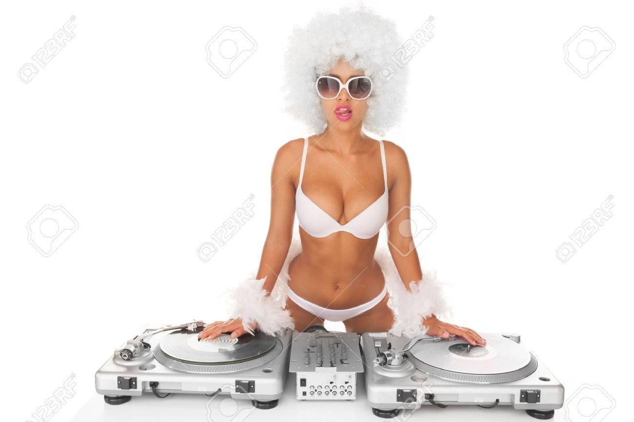 dj woman on white djing - 25852933