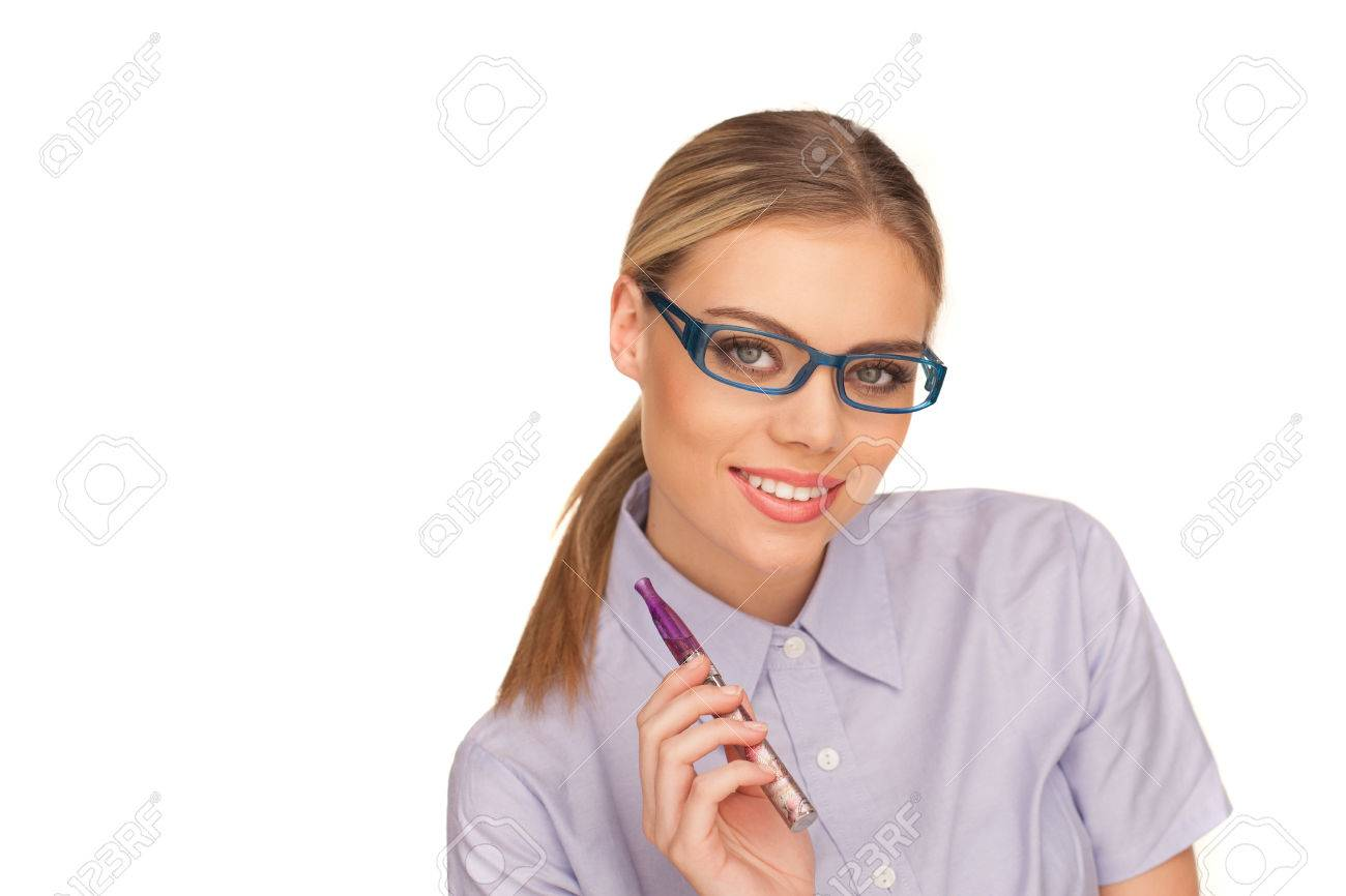 happy business woman smoking e-cigarette on white - 25854022