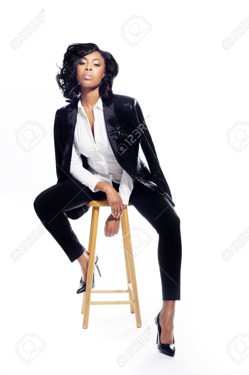 Beautiful African American young woman on white fashionable elegant - 28278605