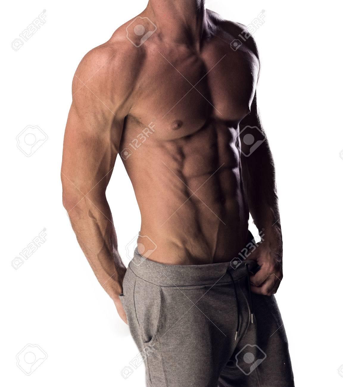 best place new york outlet for sale Vue du torse d'un homme torse nu sexy anonyme avec un physique musclé  tonique debout avec son corps tourné à un angle isolé sur blanc
