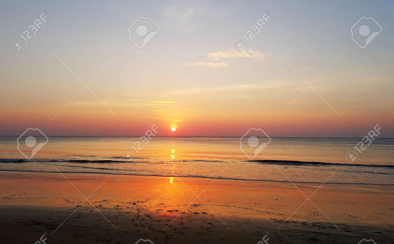 Scenic Sunset At The Sea Coast Good For Wallpaper Or Background Image Stock Photo