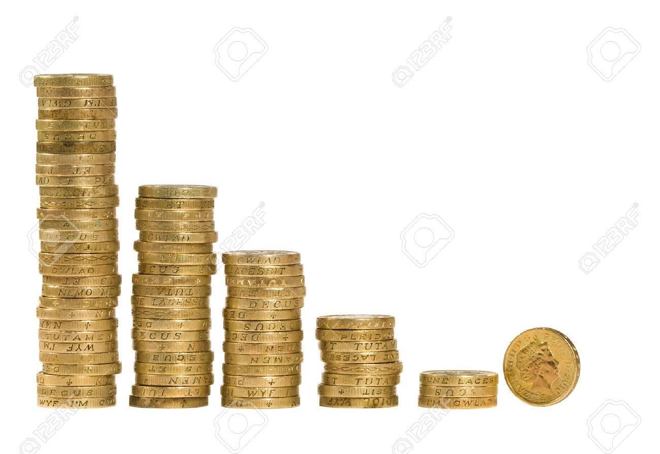 British coins arranged on a white background - 25298583