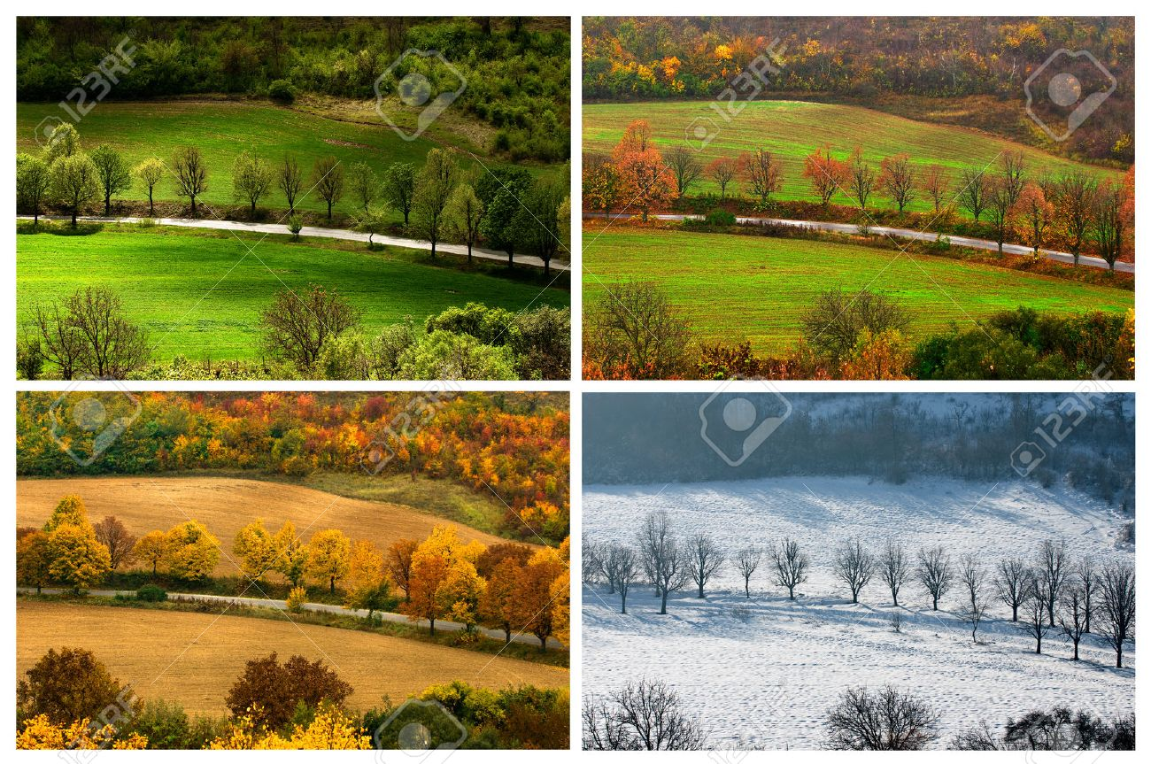 four seasons landscape with countryside views of Preslav. Stock Photo -  25299830 - Four Seasons Landscape With Countryside Views Of Preslav. Stock